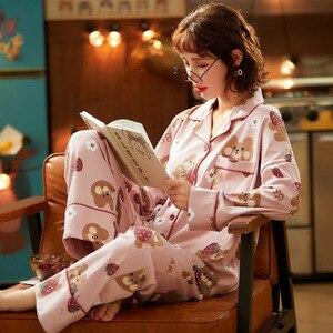 Image 4 - Bộ Pyjama Nữ Quần Áo Bộ Đồ Ngủ Bộ Hình In Dễ Thương Dài Đồ Ngủ Bộ Quần Áo Nữ Thời Trang Đồ Ngủ Mềm Váy Ngủ Phù Hợp Với