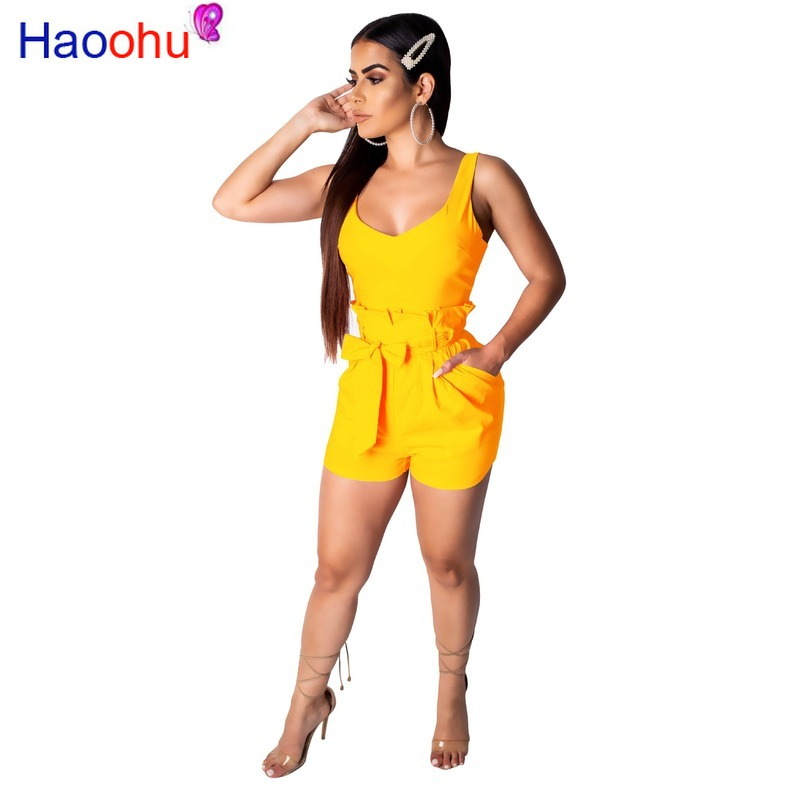 HAOOHU 2019 <font><b>Sexy</b></font> Little <font><b>Chap</b></font> Thin Markedly Higher Western Style Women Skinny Playsuit Solid Lace Up Backless Playsuits image