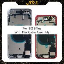 Habitação completa para o iphone 8plus plus capa de bateria de vidro traseira chassi quadro médio com cabo flexível assembléia substituição ce eua