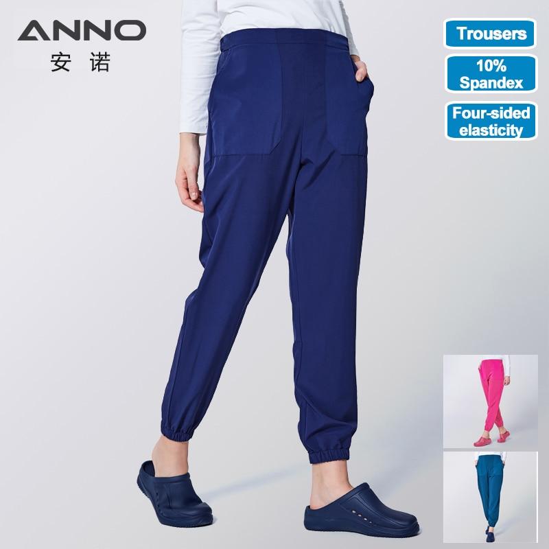ANNO рабочие брюки, форма для доктора медсестры, хлопковые эластичные манжеты, зубные медицинские скрабы, детские штаны для кормления для