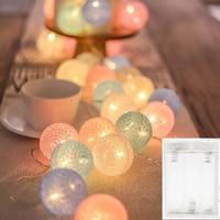 Guirlande lumineuse boule de coton 40led, éclairage féerique de noël, pour l'extérieur, vacances, mariage, fête, décoration de la maison
