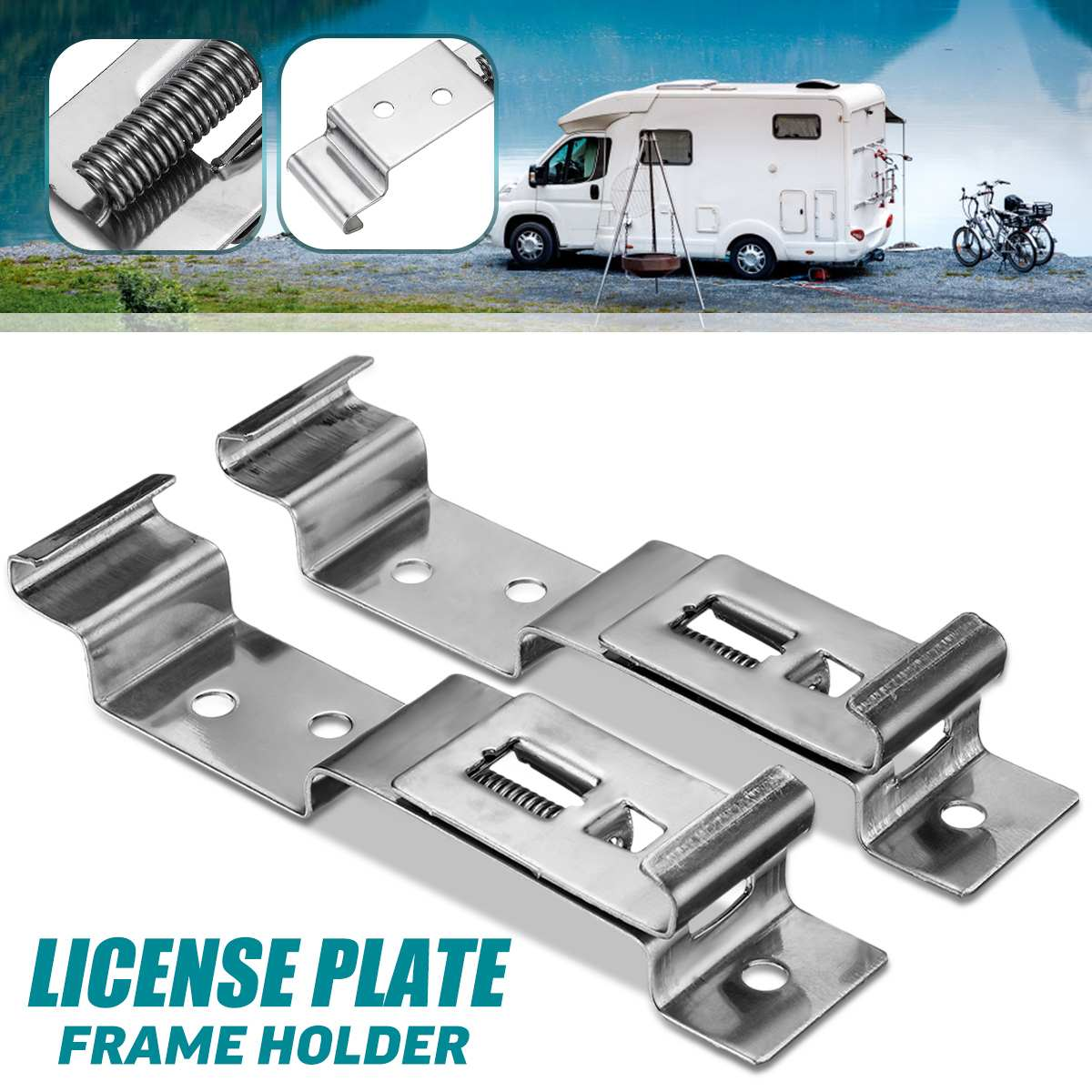 2Pcs European EU Stainless Steel Car Number License Plate Frame Holder Bracket Rack For Camper Trailer Truck Clips Cover Spring