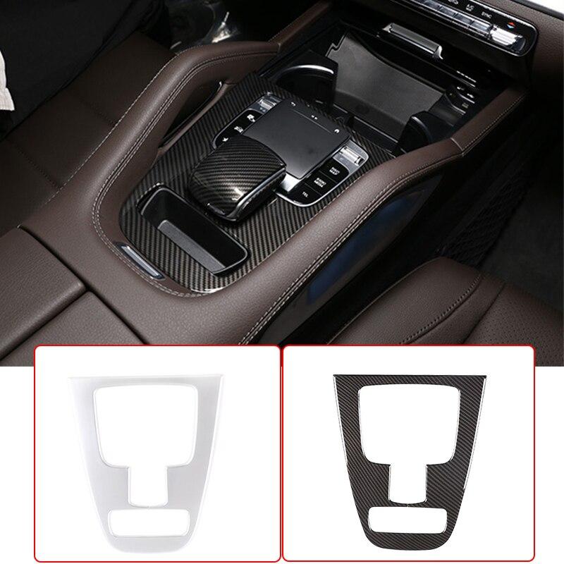 Araba merkezi konsol vites paneli Trim ABS karbon Fiber aksesuarları Mercedes Benz GLE GLS sınıfı W167 X167 2020 araba Styling