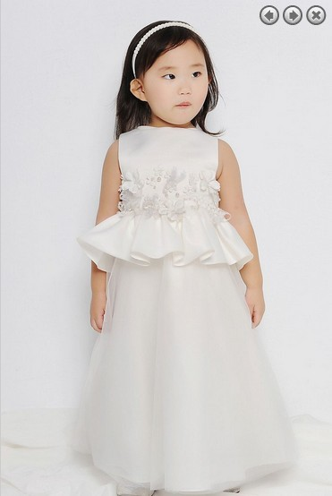 Free Shipping Red Flower Girl Dresses For Weddings 2016 M First Communion Dress Pageant Dresses For Girls Glitz White Dress