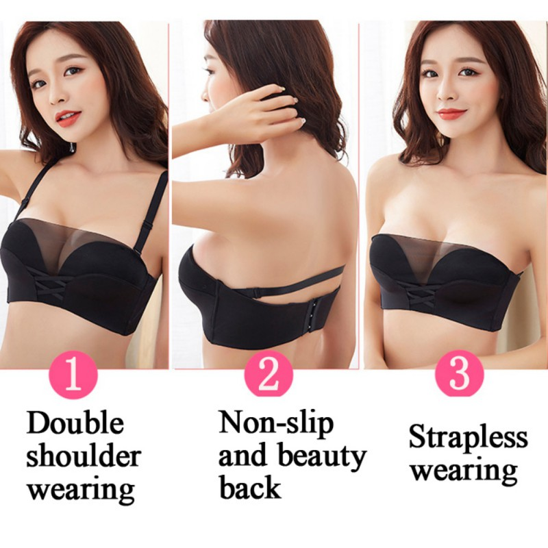 Women Fashion Sexy Invisible Bra Wirefree Push Up Non-slip Beauty Back Tube Top Invisible Bra Prominently Fascinating Curves