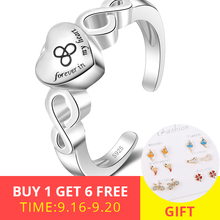 XiaoJing 925 Sterling silver Forever in my heart cremation urn open size adjustable Finger rings for memorial Jewelry gift 2019