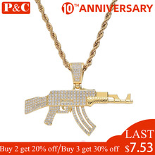 CS AK 47 Gun Pendants Necklace for Men CZ Rapper Jewelry Gold Silver Color Hip Hop AAA+ Cubic Zirconia Setting  Ice Out chain xukim jewelry full iced out prong setting aaa cubic zirconia silver color 8mm squire cuban chain necklace hip hop rapper jewelry