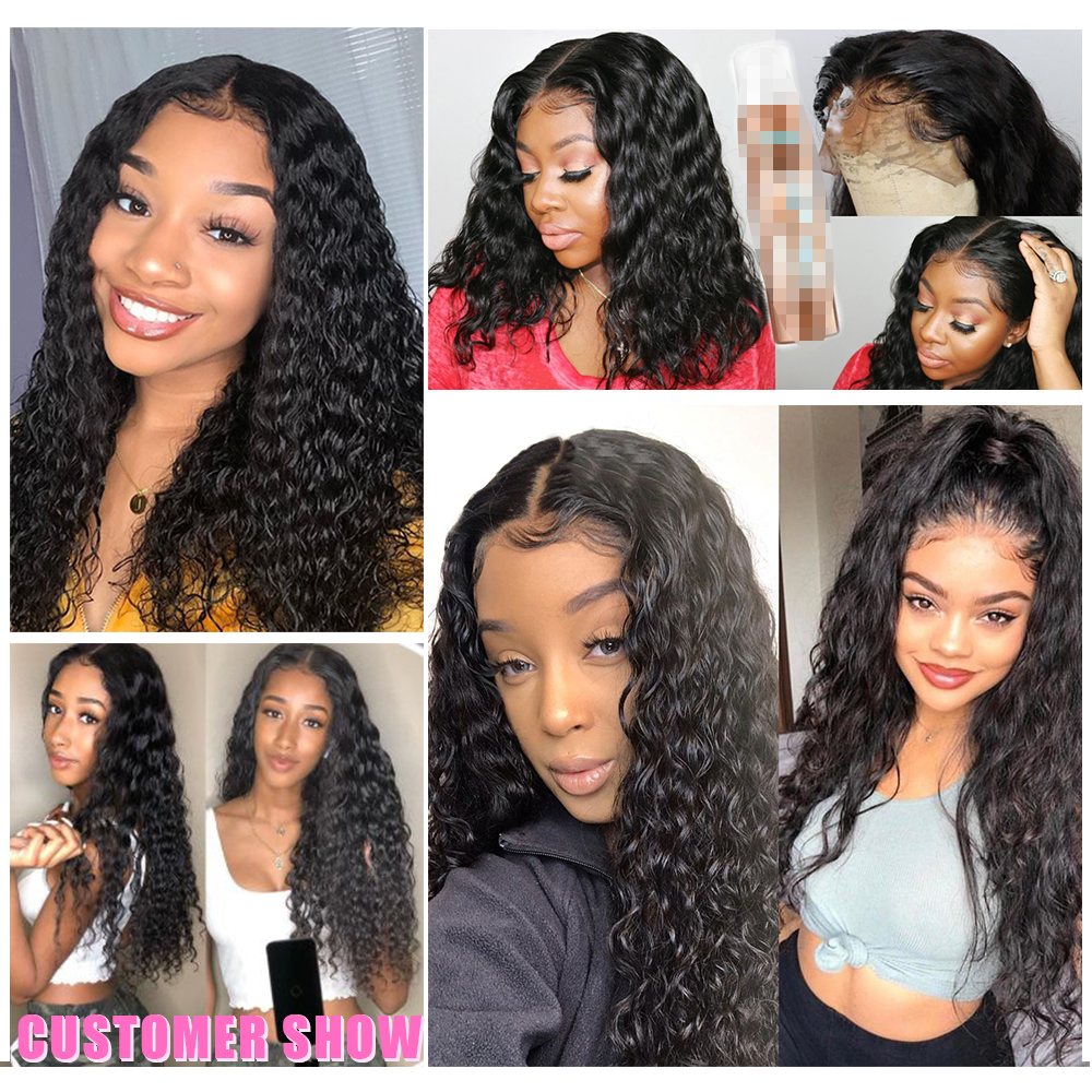 13x4 Lace Front  Wigs  Water Wave Lace Wigs Pre Plucked 4x4 Lace Closure Wigs With Baby Hair Curly Wigs 6