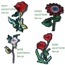 Декоративные белые, красные розы значок вышитая аппликация патчи для DIY железные значки-наклейки на рюкзак, одежду