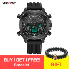 WEIDE Fashion Men Sport Alarm Repeater Quartz Digital Military Silicone Band Wristwatch Relogio Masculino Horloges Bracelet