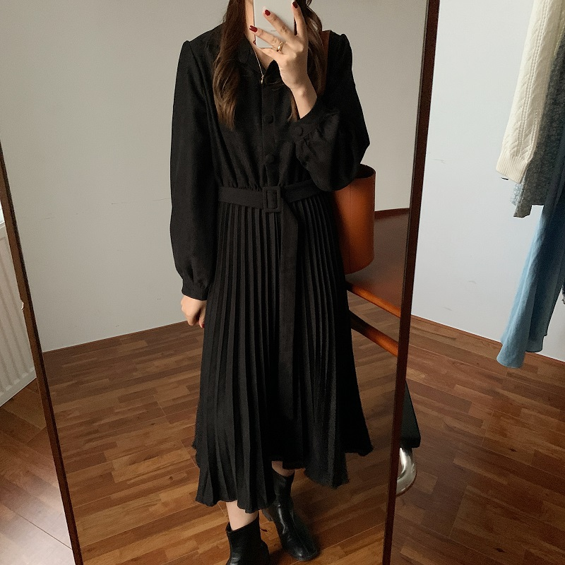 H918dbd8b5ded4abf8835c6da714f09c3C - Autumn Turn-Down Collar Long Sleeves Pleated Solid Midi Dress