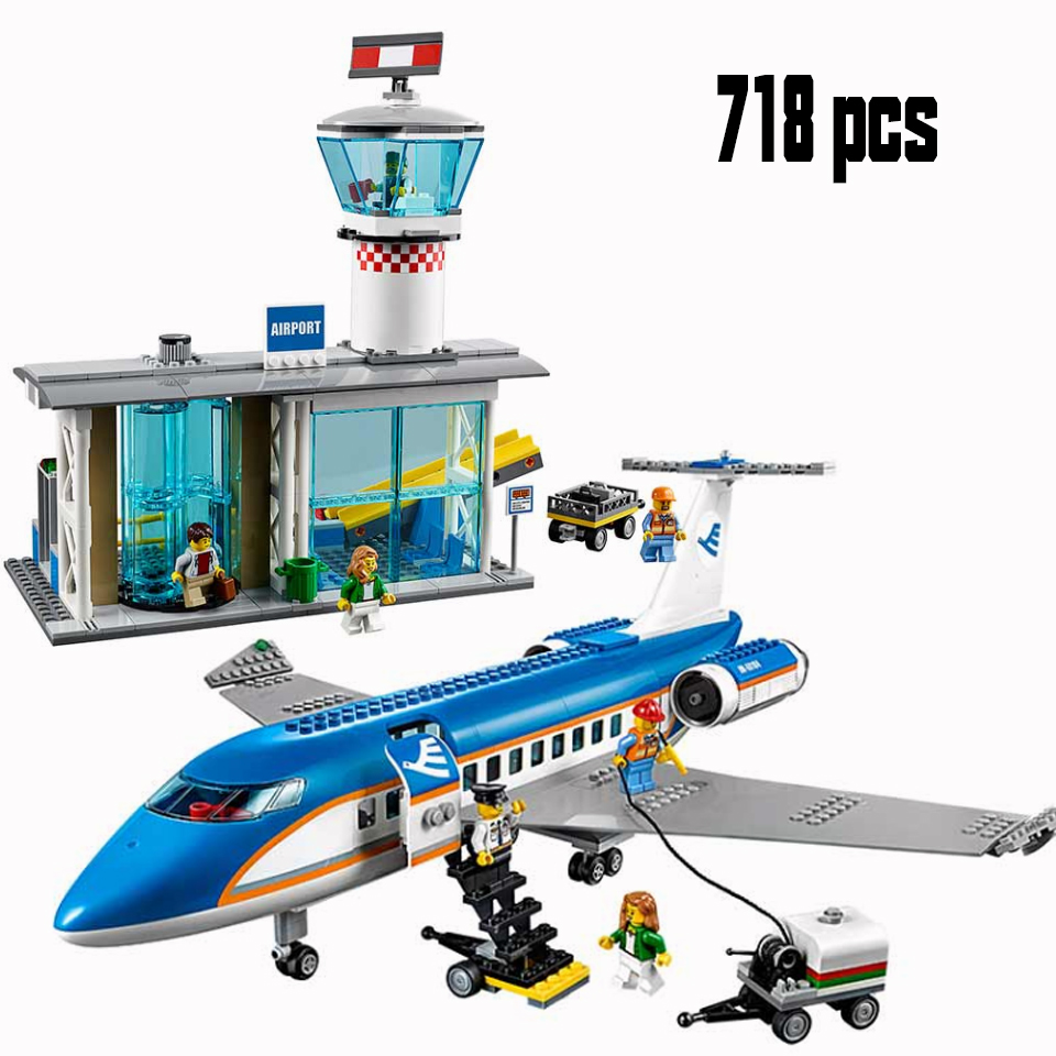 Lepining City 02043 Plane International Airport Airbus Aircraft Airplane Building Blocks Sets Figures Bricks Toys For Children