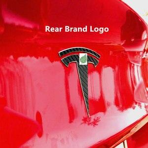 Image 3 - Für Tesla Modell 3 Carbon Faser muster Vorne Hinten T Logo + lenkrad T Logo 3PCS