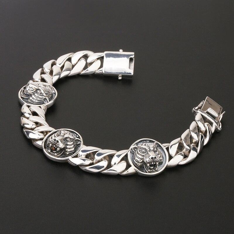 Чистое Серебро S925, браслет с головой тигра, Стерлинговое Серебро 925 пробы, мужские ювелирные изделия - 2
