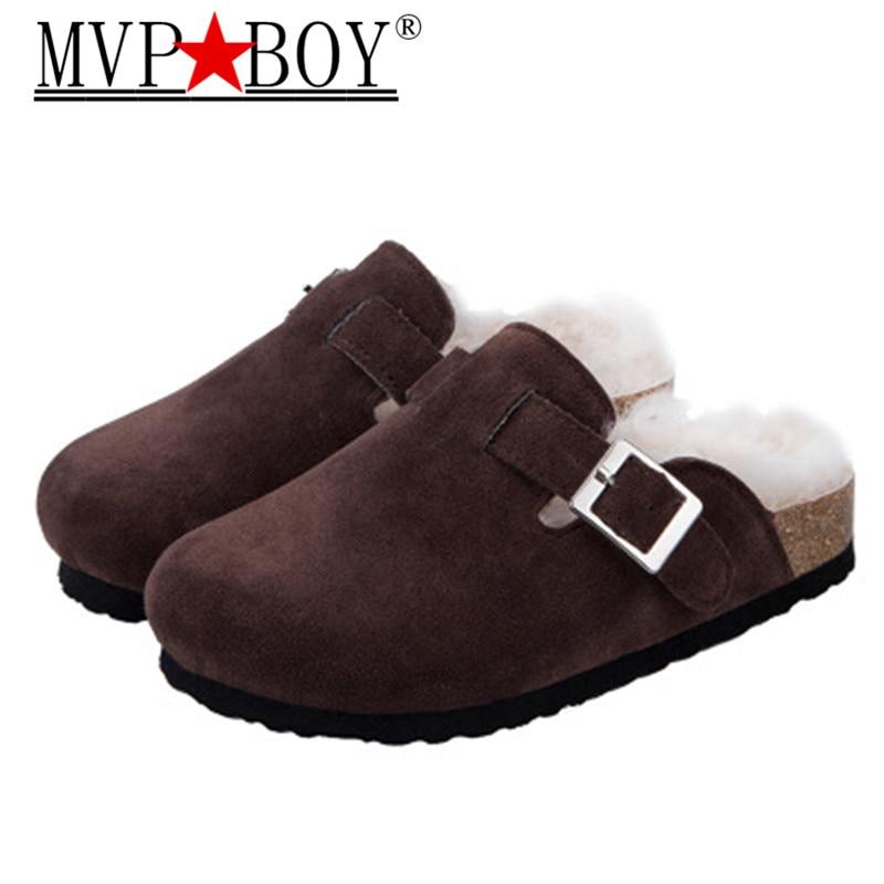Winter New Men Fur Indoor Cork Slipper Keep Warm Anti-slip Plush House Floor Bedroom Comfortable Men Slipper Winter Unisex Shoe
