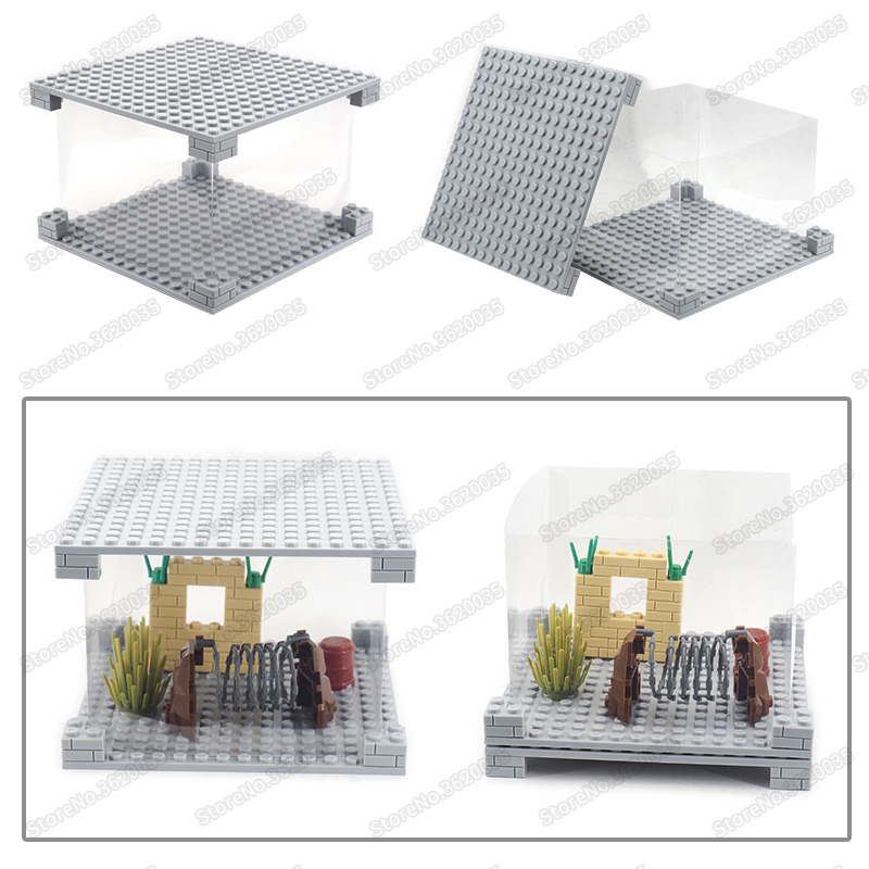 Legoinglys Figures Military Box Dust Cover Assembly Building Blocks Display Model Moc City Technology Child Christmas Gifts Toys