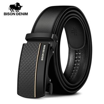 BISON DENIM Genuine Leather Automatic Men Belt Luxury Strap Belt for Men Designer Belts Men High Quality Fashion Belt N71416
