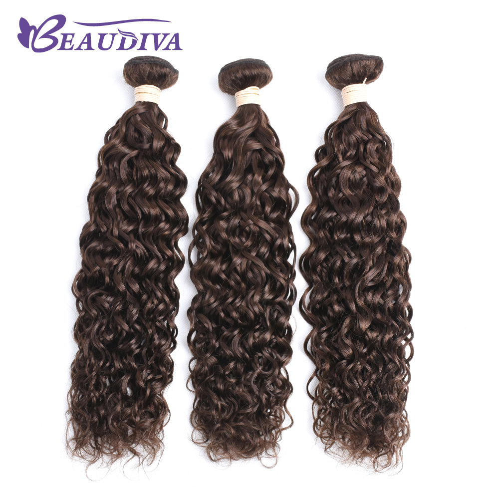 Beaudiva Brazilian Water Wave Bundles 4# Remy Human Hair Bundles With Closure Free Shipping 3 Bundles Tangle Free