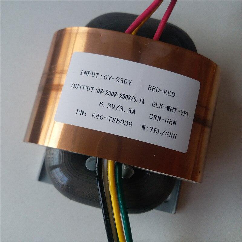 0 230v 250v 0 1a 6 3 v 3 3a r transformador de nucleo 45va r40