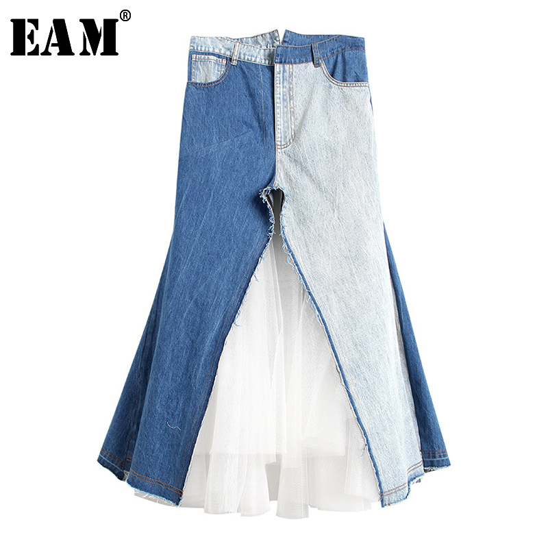 [EAM] 2020 New Spring Summer High Elastic Waist Hit Color Blue Mesh Pocket Split Joint Half-body Skirt Women Fashion Tide JW272