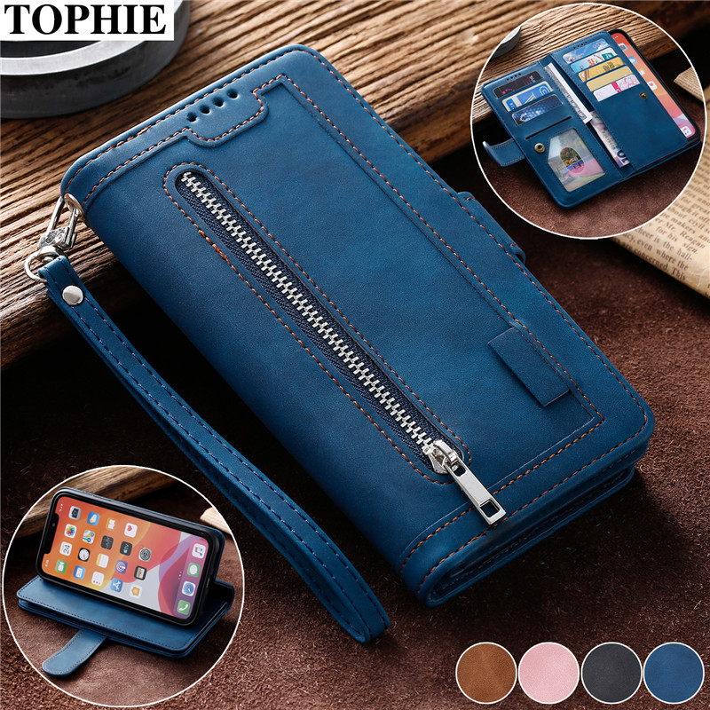 Zipper Purse Leather Case For <font><b>iPhone</b></font> 11 Pro XS Max XR X SE 2020 6 6S 7 <font><b>8</b></font> Plus Coque Luxury Wallet Card Holder Poouch Cover Etui image