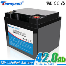 12V 42AH Lifepo4 battery pack waterproof with 12.8V BMS 4S 42A for Solar energy storage RV boat inverter monitor RV + Charger