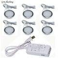 Светодиодный потолочный светильник, лампа для шкафа, 6 шт., 2 Вт, 12 В, адаптер питания для ЕС и США, комнатное украшение для кухни, туалета, спал...