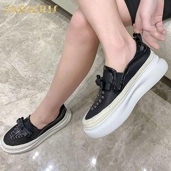 SaraIris 2020 New Arrivals Genuine Leather Women Flats Round Toe Platform Butterfly-knot Spring/Autumn Women Shoes