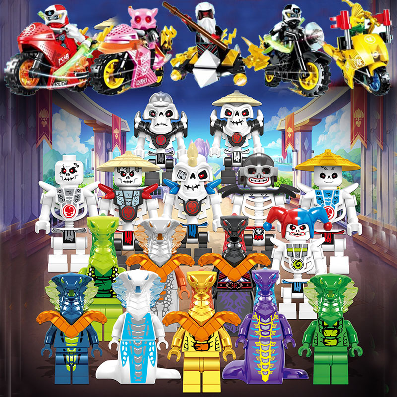 48pcs/sets Figures DIGI Ninjagoed Ninja Motorcycle For Kids Gifts Carmadon Kai Jay Zane Cole Building Blocks Bricks Toys