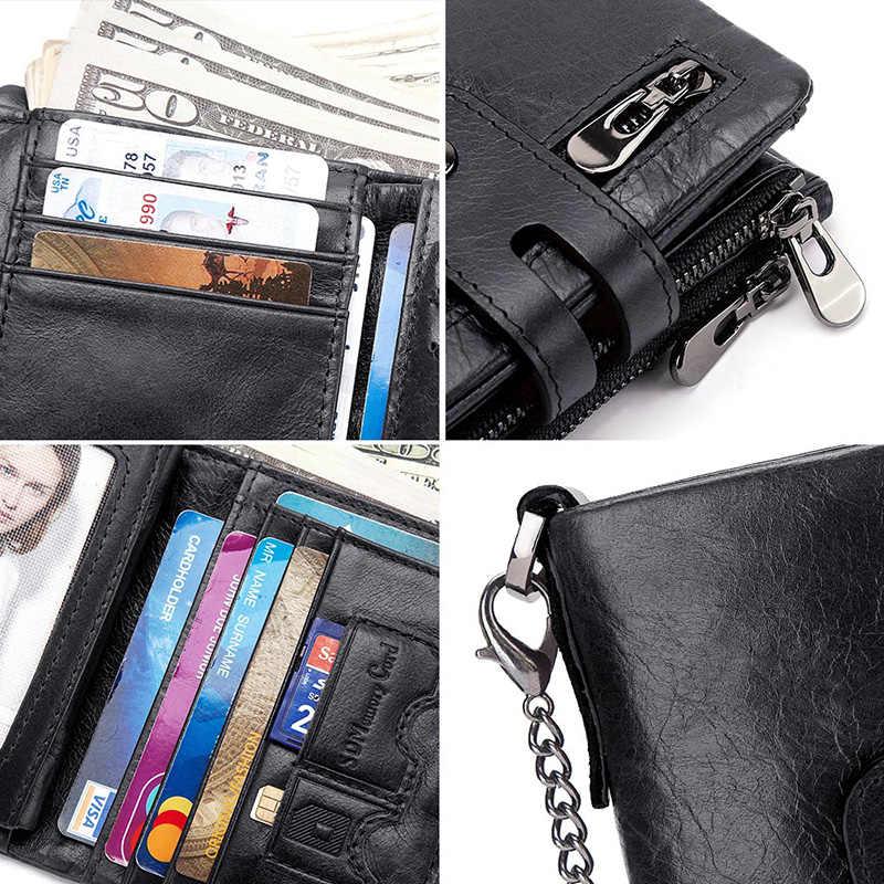 GZCZ แกะสลักฟรี RFID ของแท้หนังผู้ชายกระเป๋าสตางค์กระเป๋าสตางค์กระเป๋าใส่มินิการ์ดขนาดเล็ก CHAIN PORTFOLIO Portemonnee ชาย Min Walet