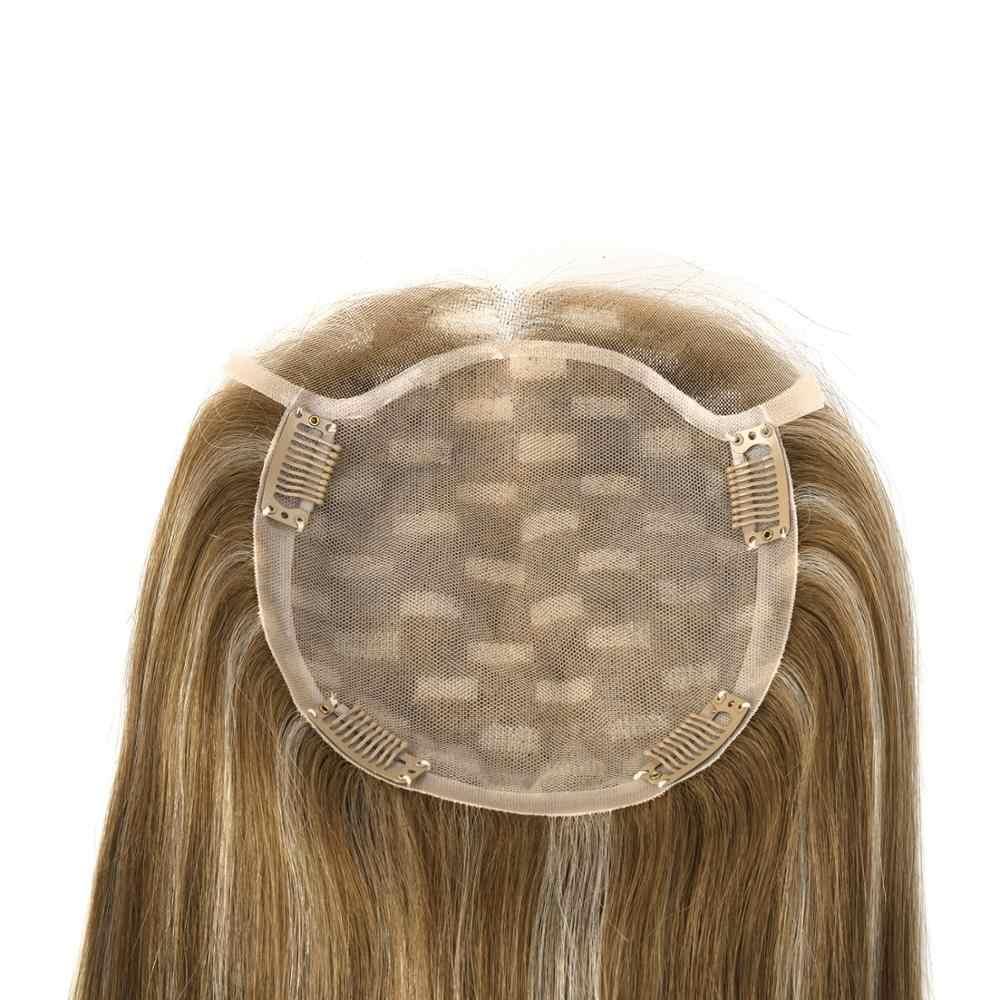 K.s Tóc Giả 16 ''20'' 15X14cm Giả Da Đầu Topper Bộ Tóc Giả 150% Mật Độ Lụa Căn Cứ Trinh Nữ Tông Đơ Cắt Tóc Toupee tóc Cho Nữ