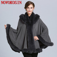 SC360 Winter Cape Thick White Black Coat 2019 Poncho Women Faux Fur Neck Knitted Cloak Plus Size Big Pendulum Dovetail Cardigan