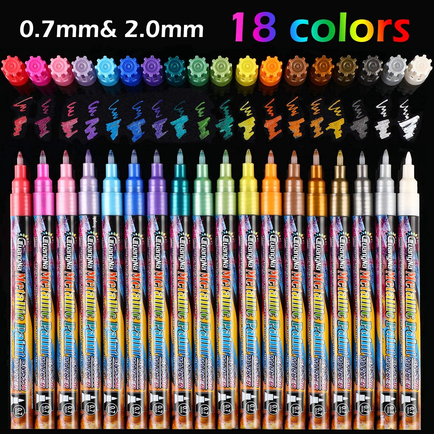 24 Colors Acrylic Metallic Marker Pens, Extra Fine Point Paint Pen, Art Permanent Markers Painting for Cards Signature Lettering