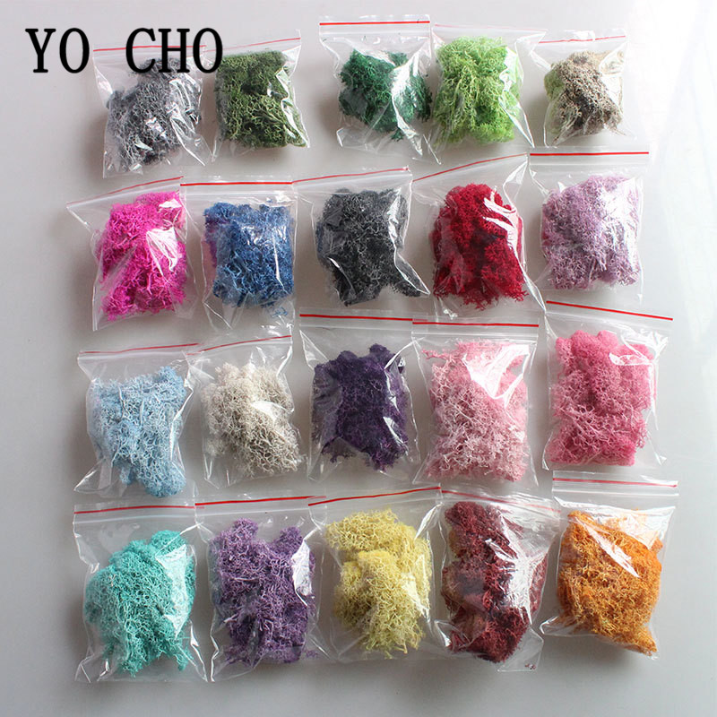 YO CHO Natural Norwegian Reindeer Moss Preserved Dried Craft Flower Stamen Decoration Wedding Ornament Fairy Garden Decor Muscus