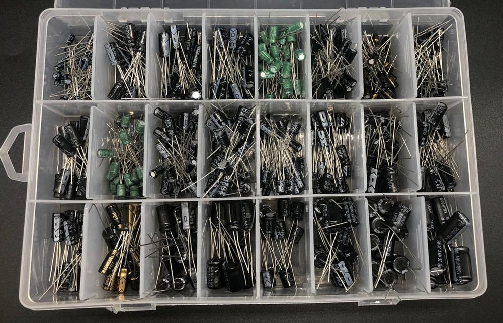 Hot DealsElectrolytic-Capacitor Aluminum Assorted-Kit 16-50V 24values 500pcs/Lot Storage-Box Mix