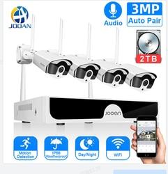 Jooan 8CH NVR 3MP CCTV אלחוטי מערכת אודיו שיא 4/8PCS 3.0MP חיצוני P2P Wifi IP אבטחת מצלמה סט ערכת מעקב וידאו