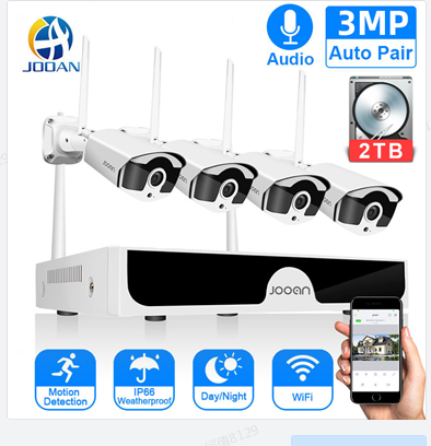 Jooan 8CH NVR 3MP CCTV Wireless System Audio Record 4/8PCS 3.0MP Outdoor P2P Wifi IP Security Camera Set Video Surveillance Kit