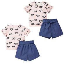 Crianças meninas manga curta plissado t-camisa topos shorts com cinto conjunto roupas