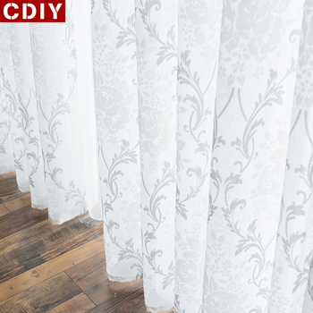 CDIY White Embroidery Sheer Curtains Window Tulle Curtains for Bedroom Living Room Kitchen Voile Curtains for Window Drapes Sale tulle modern window curtains for living room solid sheer curtains for bedroom voile drapes curtains window screening treatments