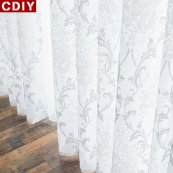 CDIY White Embroidery Sheer Curtains Window Tulle Curtains for Bedroom Living Room Kitchen Voile Curtains for Window Drapes Sale