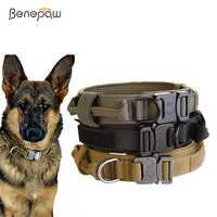 Benepaw col de chien tactique robuste, avec poignée, collier de animal réglable Durable pour les chiens de taille moyenne, de gros, d'entraînement allemand