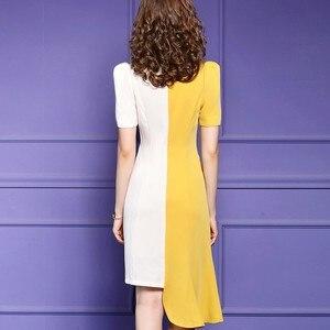 Image 3 - משרד ליידי קיץ שמלת 2019 חדש באיכות מעולה נשים סקסי טלאים המפלגה שמלה בתוספת גודל קצר שרוול סימטרי שמלות