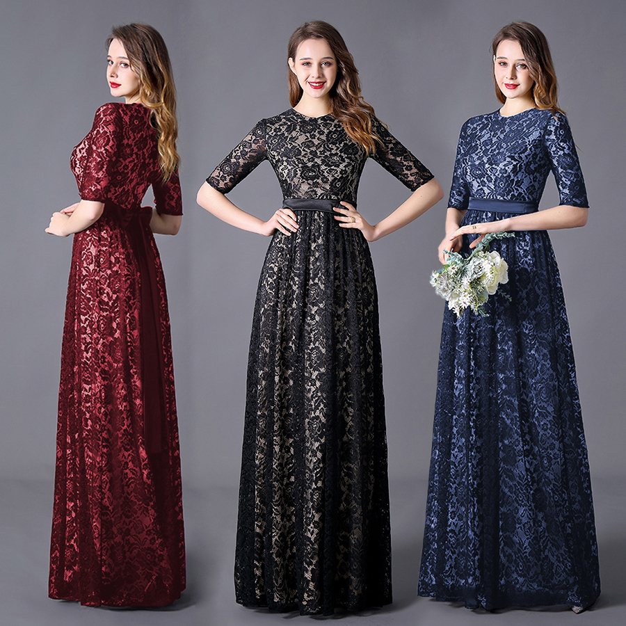 Evening Dress Party Gowns A-line/Princess High Neck Floor Length Half Sleeves High Waist Lace Elegant With Zipper Back/Sashes