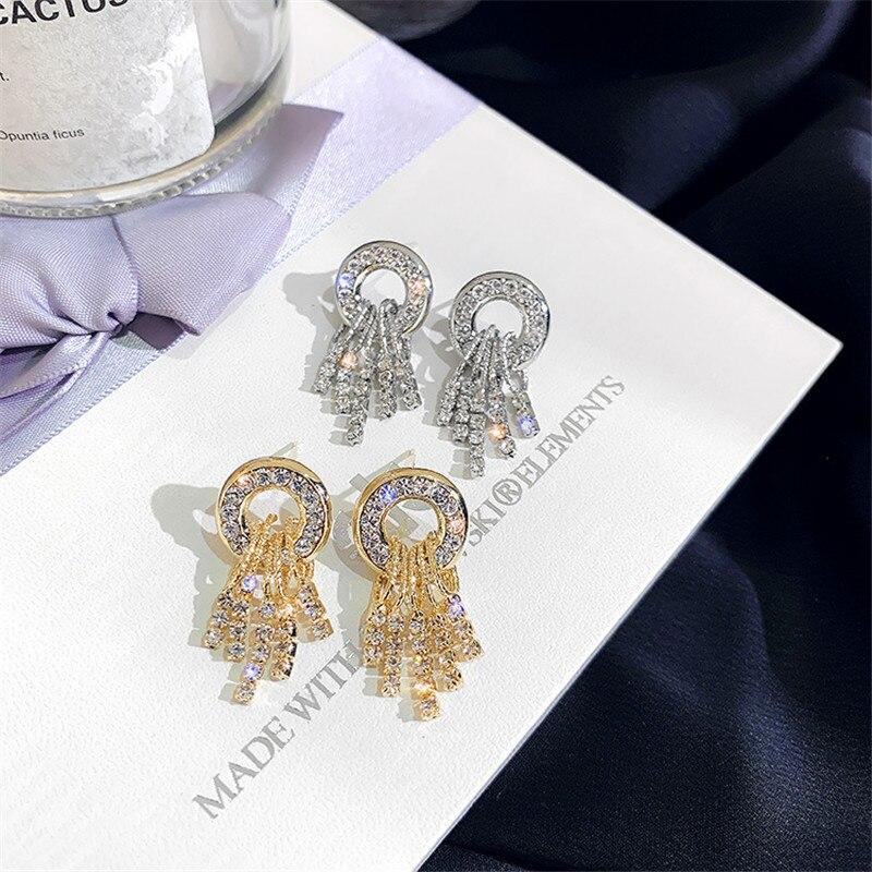 FYUAN Geometric Small Circle Drop Earrings For Women ExquisiteTassel Rhinestone Dangle Earrings Fashion Jewelry Gifts