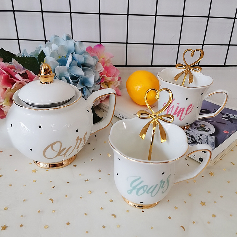 Ceramic Teaware Set European Golden Edge Tea Cup With Handle Durable Non-Slip Home Kitchen Desk Decoration Tea Coffee Pot Sets