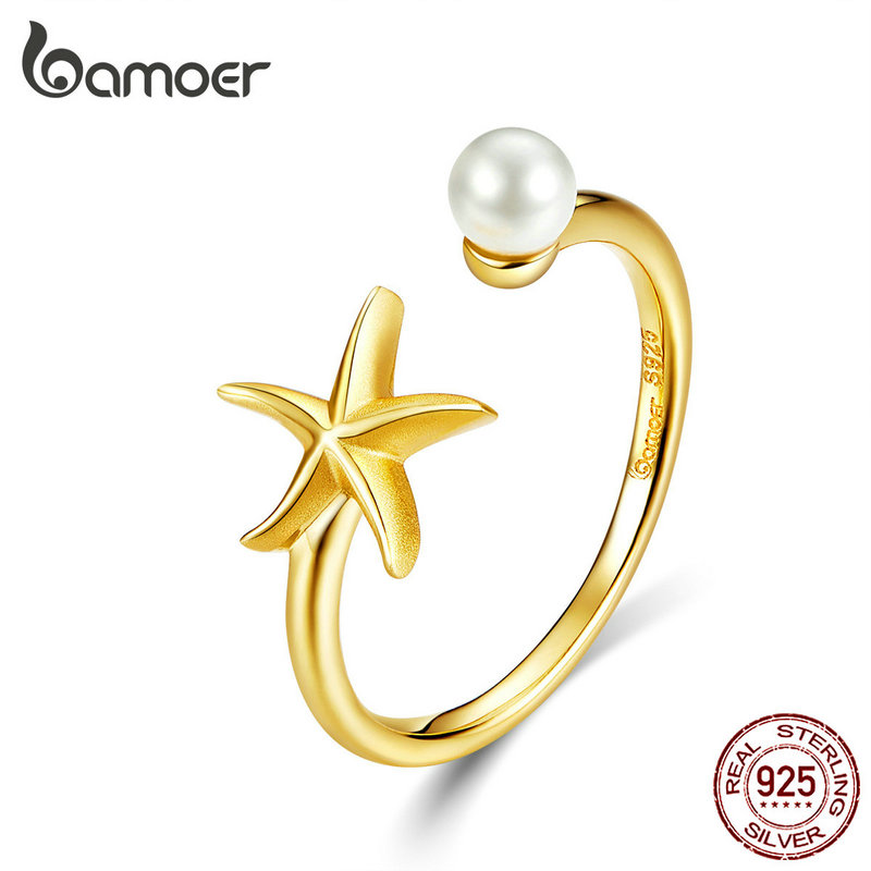 Bamoer Shell Pearl With Starfish Finger Rings For Women Adjustable Band 925 Sterling Silver Summer Jewelry HOT SALE BSR064