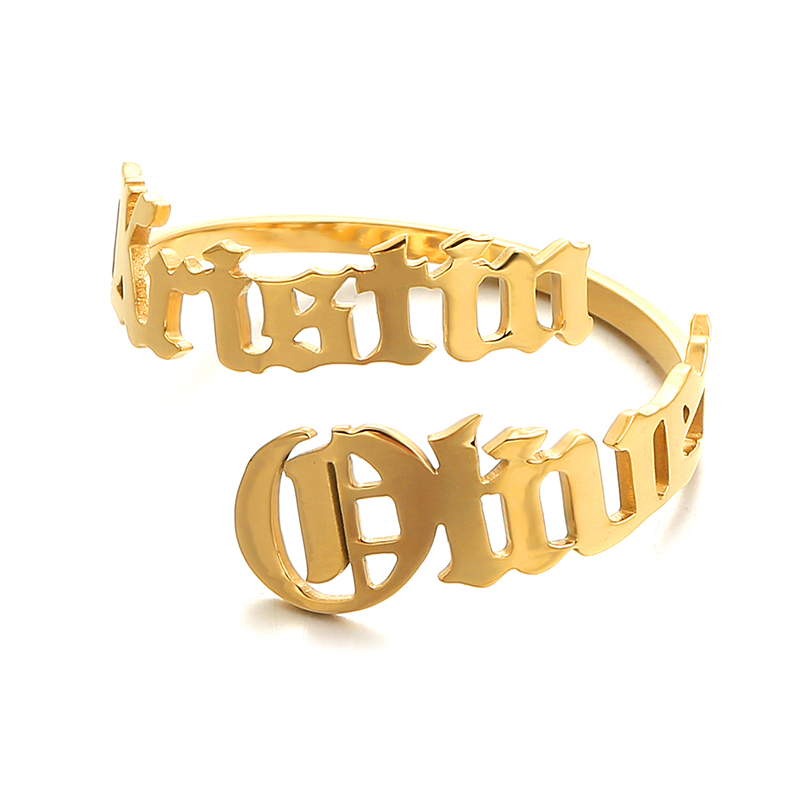 Customized Stainless Steel Name Rings Personalized Fashion Letter Gold Ring Pendant Nameplate Jewellery for Couple Family Gift