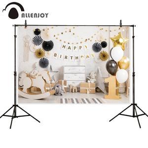 Image 5 - Allenjoy עוגת לרסק 1st יום הולדת צילום רקע קרח קרם בלון יילוד ורוד תמונה רקע תינוק תא צילום שיחת וידאו