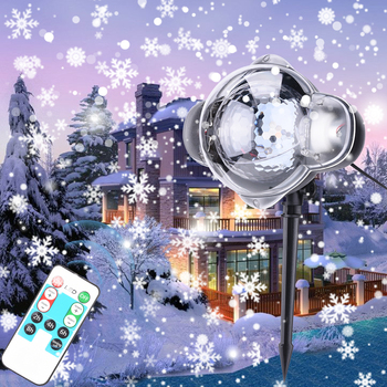 LED Dynamic Moving Snowing Projector Light Outdoor Christmas Spotlight Snowflakes Pattern Projector Garden Landscape Lamp  D25 waterproof outdoor 10 pattern led laser landscape lights garden projector moving pattern stage light for christmas holiday
