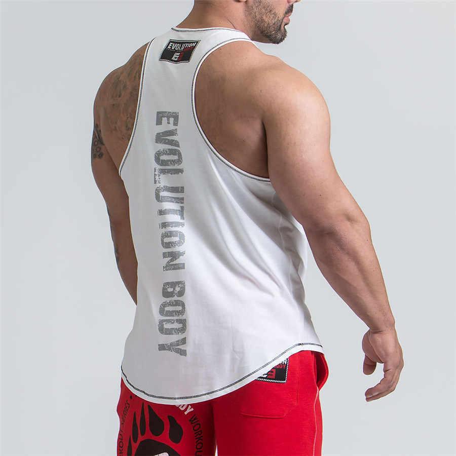 새로운 러닝 조끼 남자 민소매 휘트니스 티셔츠 보디 빌딩 근육 스트링거 언더 셔츠 체육관 티셔츠 스포츠 탱크 탑 남성 조끼